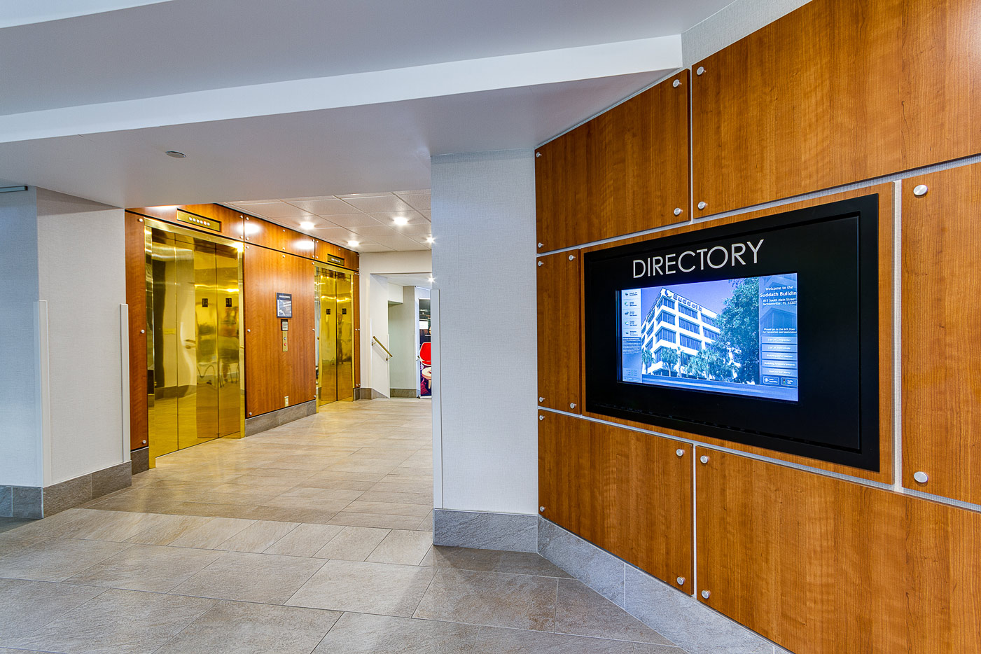 elevator lobby and building directory